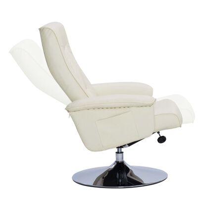 vidaXL Sillón reclinable con reposapiés cuero sintético color crema