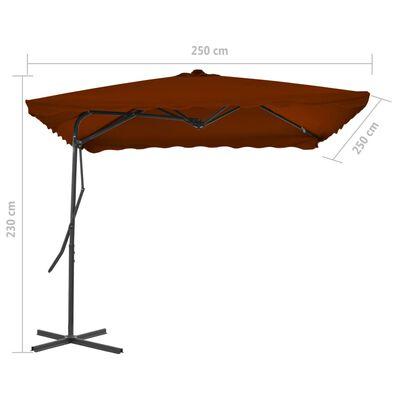 vidaXL Sombrilla de jardín con palo de acero terracota 250x250x230 cm