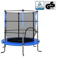 vidaXL Cama elástica con red de seguridad redonda azul 140x160 cm
