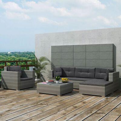 vidaXL Juego de muebles de jardín 6 pzs y cojines ratán sintético gris