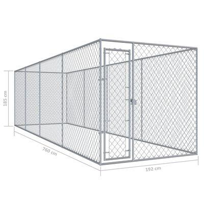 vidaXL Perrera de exterior 760x192x185 cm