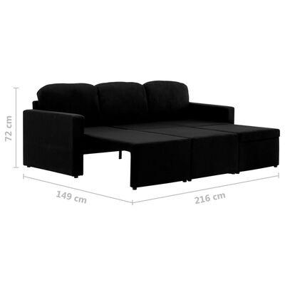 vidaXL Sofá cama modular de 3 plazas tela negro