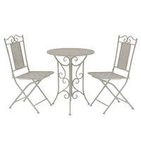 vidaXL Mesa y sillas bistró de jardín 3 piezas acero gris