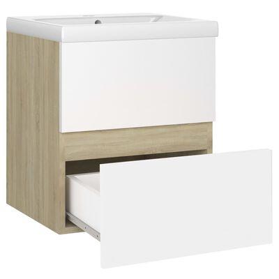 vidaXL Mueble con lavabo aglomerado blanco y roble Sonoma