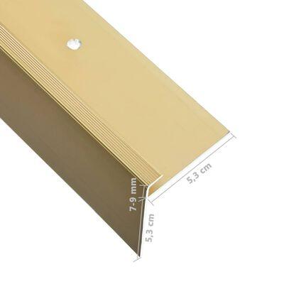 vidaXL Perfil de peldaño forma de F 15 uds aluminio dorado 134 cm