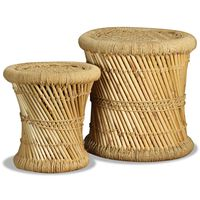 vidaXL Taburetes de cocina 2 unidades bambú y yute