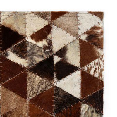 vidaXL Alfombra de cuero Patchwork 80x150 cm triángulos marrón/blanco