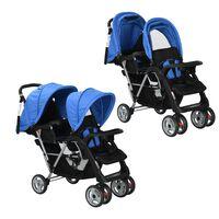 vidaXL Carrito para dos bebés tandem azul y negro de acero