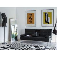 Sofá cama 3 plazas tapizado negro ROXEN