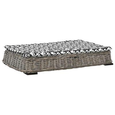 vidaXL Cama para perros y cojín plana sauce natural gris 95x65x15 cm