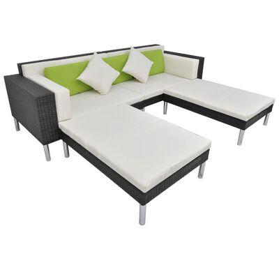 vidaXL Set de muebles de jardín 4 pzas y cojines ratán sintético negro