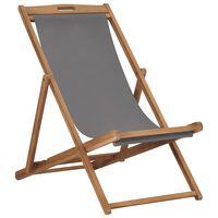 vidaXL Silla de playa plegable de madera maciza de teca gris