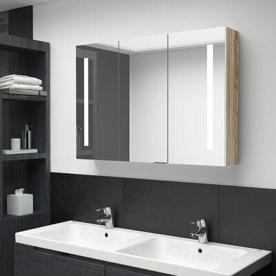 vidaXL Armario cuarto baño con espejo y LED 89x14x62 cm blanco y roble