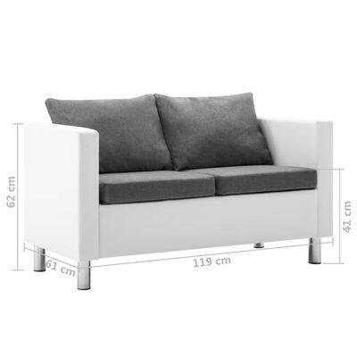 vidaXL Sofá de 2 plazas de cuero sintético blanco y gris claro