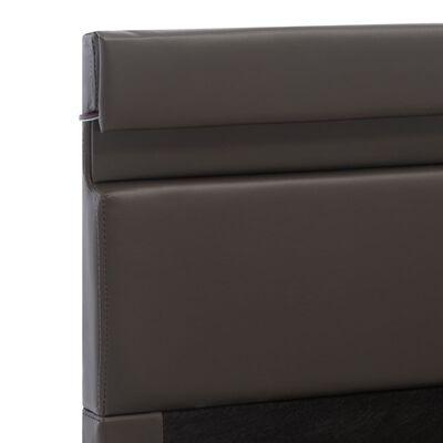 vidaXL Cama canapé hidráulica con LED cuero sintético gris 160x200cm