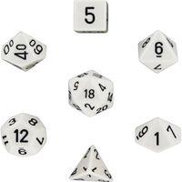 Paquete de 7 dados RPG (para mazmorras y dragones, etc.) Blanco