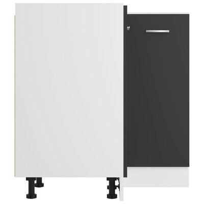 vidaXL Armario inferior de esquina aglomerado gris 75,5x75,5x80,5 cm