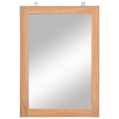 vidaXL Espejo de pared madera de teca maciza 50x70 cm