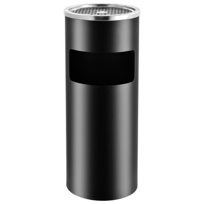 vidaXL Papelera con cenicero de acero negro 30 L