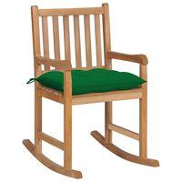 vidaXL Silla mecedora de madera maciza de teca con cojín verde