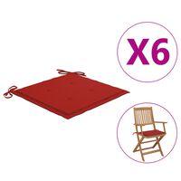 vidaXL Cojines de silla de jardín 6 uds tela rojo 40x40x4 cm