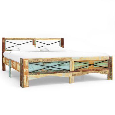 vidaXL Estructura de cama de madera maciza reciclada 160x200 cm