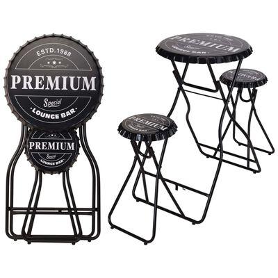 Ambiance Mesa alta de bar plegable con taburetes negro