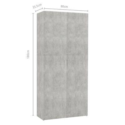vidaXL Mueble zapatero de aglomerado gris hormigón 80x35,5x180 cm