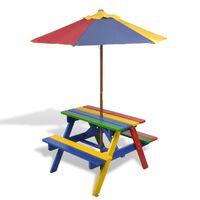 vidaXL Mesa de picnic y bancos de niños y sombrilla madera multicolor