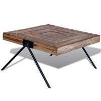 vidaXL Mesa de centro con patas en forma de V madera de teca reciclada
