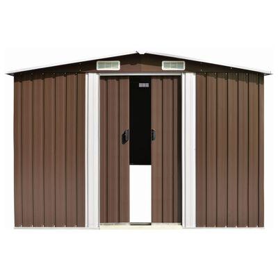 vidaXL Cobertizo de jardín acero galvanizado marrón 257x779x181 cm
