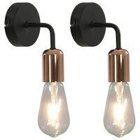 vidaXL Lámpara de pared 2 unidades negro y cobre E27