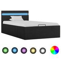 vidaXL Cama hidráulica con almacenaje y LED tela gris oscuro 100x200cm