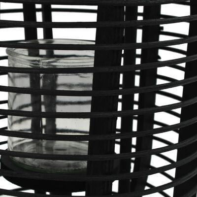 vidaXL Portavelas de pie bambú negro