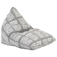 vidaXL Sillón puf de tela patchwork gris