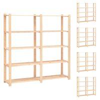 vidaXL Estantería 5 niveles 5 unidades madera pino maciza 500 kg