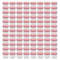 vidaXL Tarros de mermelada de vidrio tapa blanca y roja 96 uds 110 ml