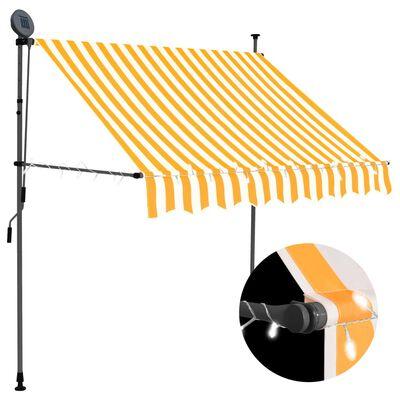 vidaXL Toldo manual retráctil con LED blanco y naranja 100 cm