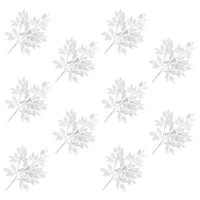 vidaXL Hojas artificiales de ficus 10 unidades plateado 65 cm