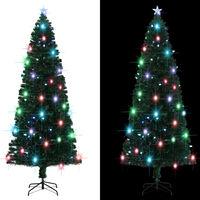 vidaXL Árbol de Navidad artificial con soporte/LED 240 cm fibra óptica