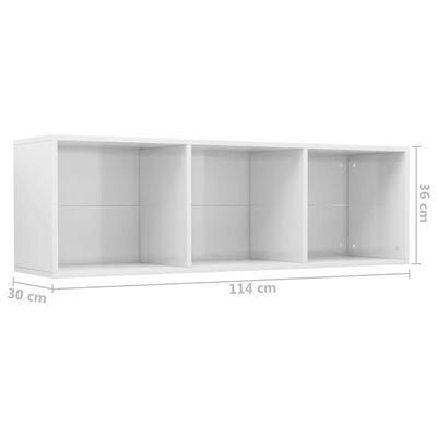 vidaXL Estantería/mueble TV aglomerado blanco brillante 36x30x114 cm