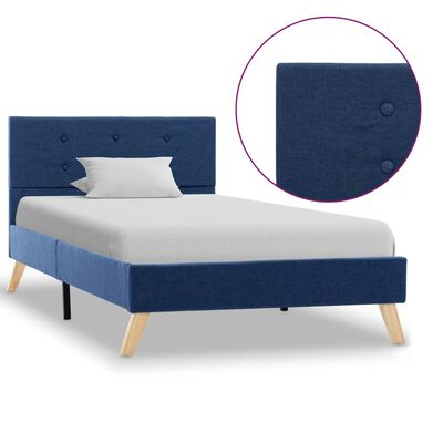 vidaXL Estructura de cama de tela azul 90x200 cm