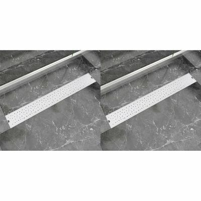 vidaXL Desagüe ducha lineal 2 uds burbuja 830x140 mm acero inoxidable