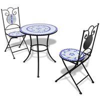 vidaXL Set de mesa y sillas de jardín 3 pzas con mosaico azul y blanco