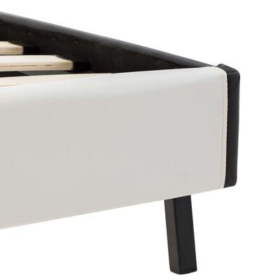 vidaXL Cama con colchón viscoelástico cuero sintético B/N 140x200 cm