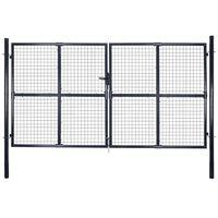 vidaXL Puerta de malla de jardín acero galvanizado gris 289x175 cm
