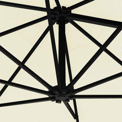 vidaXL Sombrilla de pared con barra de metal 300 cm arena
