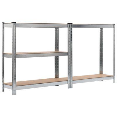 vidaXL Estanterías 2 unidades plateado 90x30x180 cm acero y MDF
