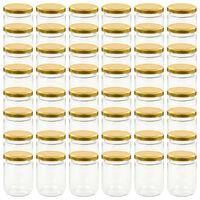 vidaXL Tarros de mermelada de vidrio con tapa dorada 48 uds 230 ml