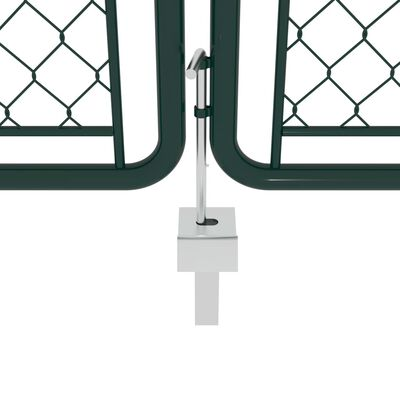 vidaXL Puerta de jardín de acero verde 400x125 cm